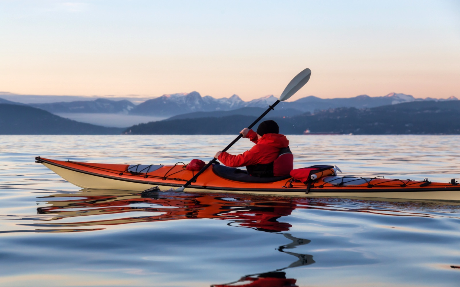 A kayaker in English Bay, Vancouver