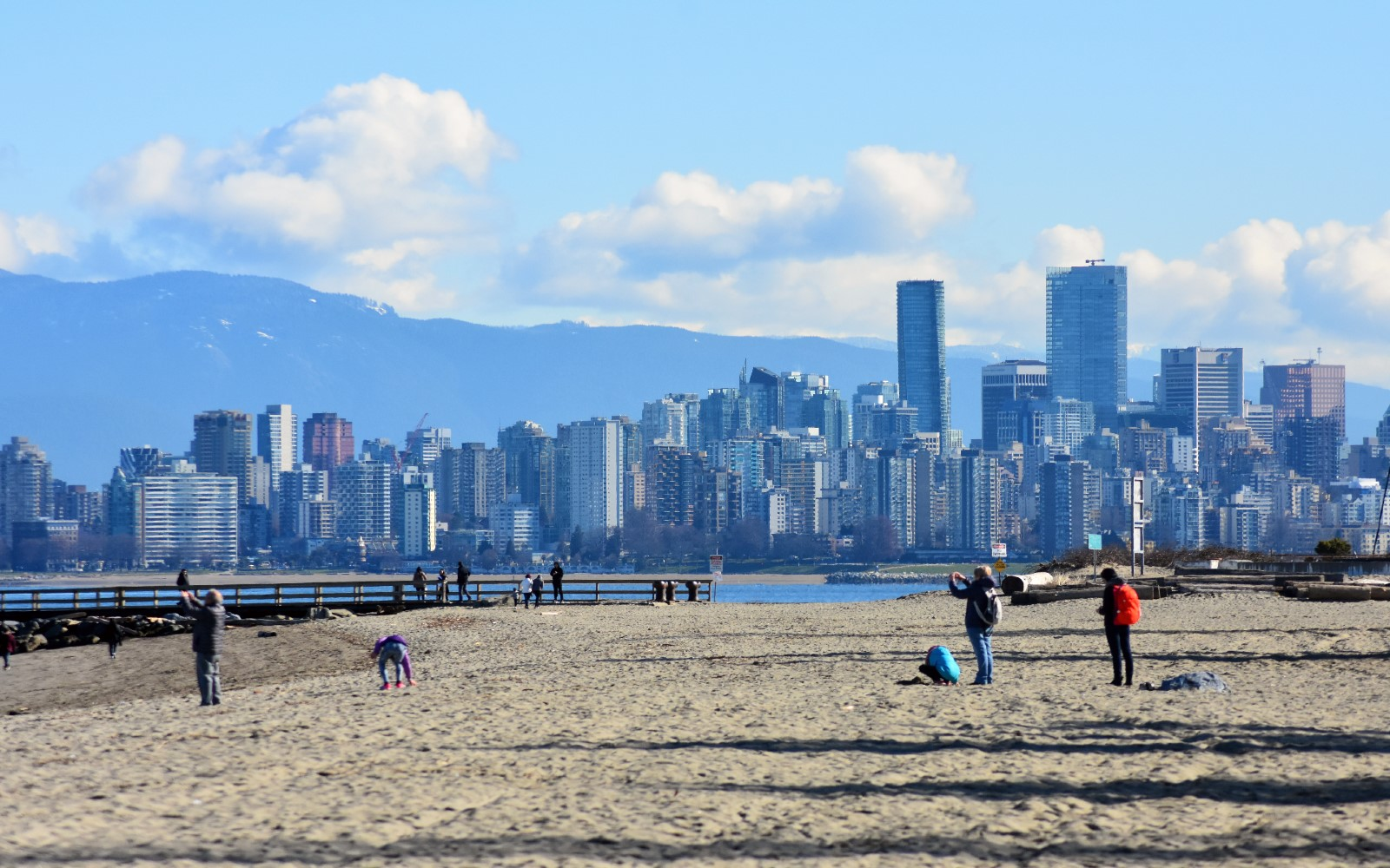 The view of Vancouver's skyline from Jericho Beach