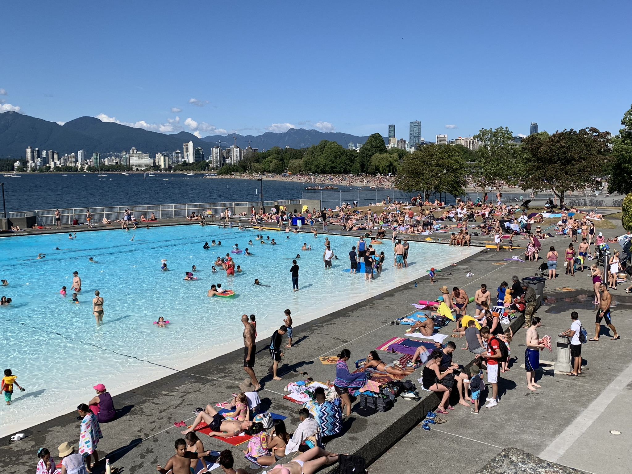 A busy summer day at Kits Pool, Vancouver