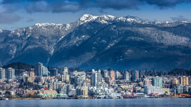 the view of the North Shore Mountains behind Lonsdale, North Vancouver