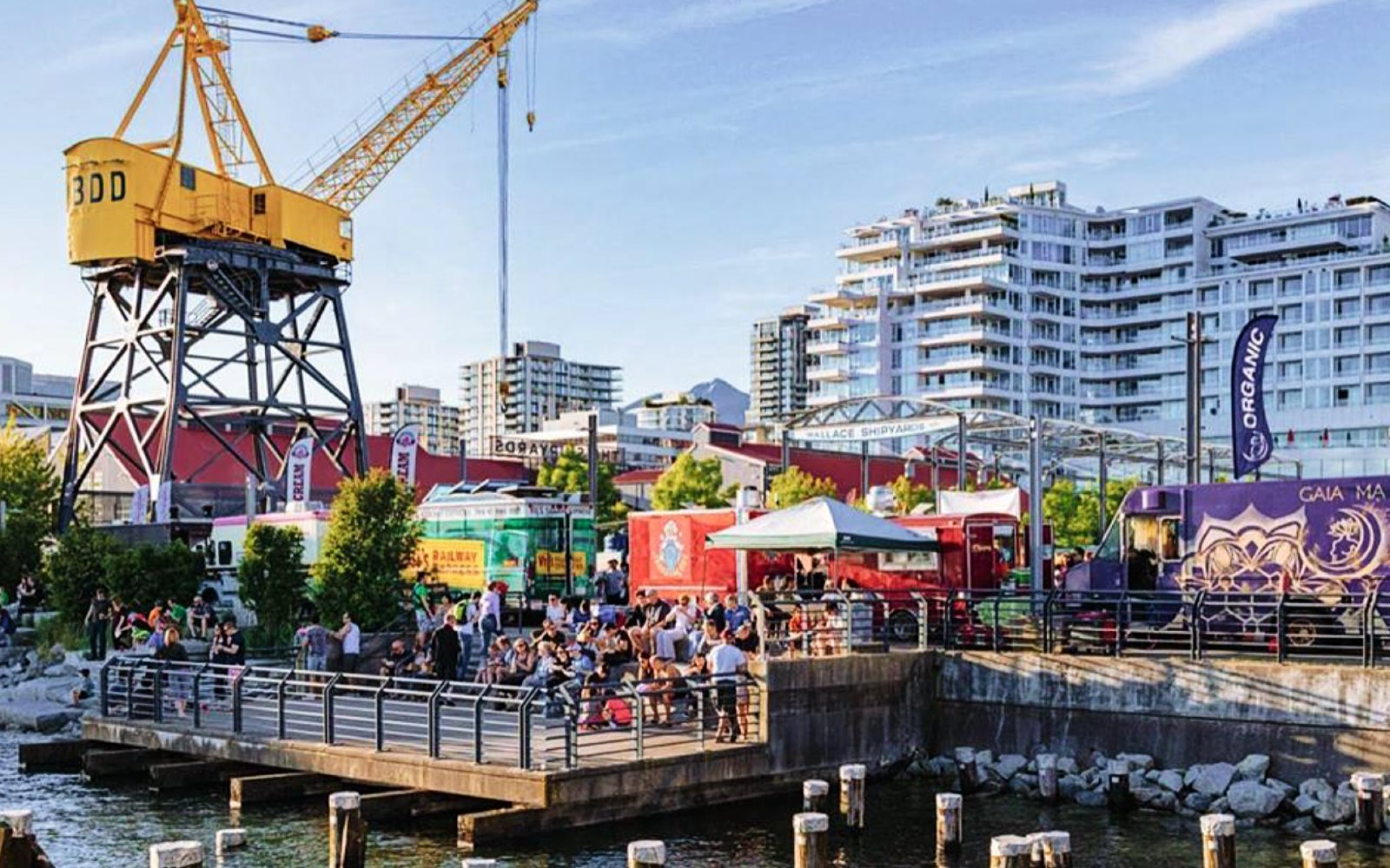 People enjoy the Shipyards Night Market