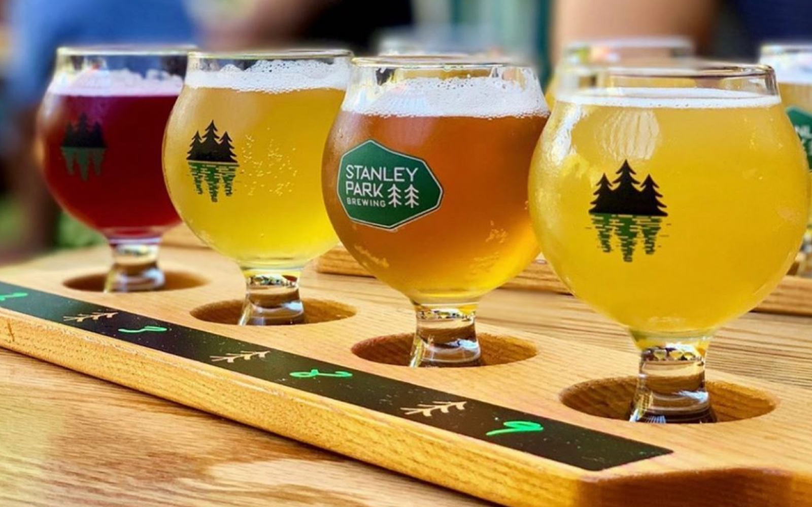 A flight of beers from Stanley Park Brewing