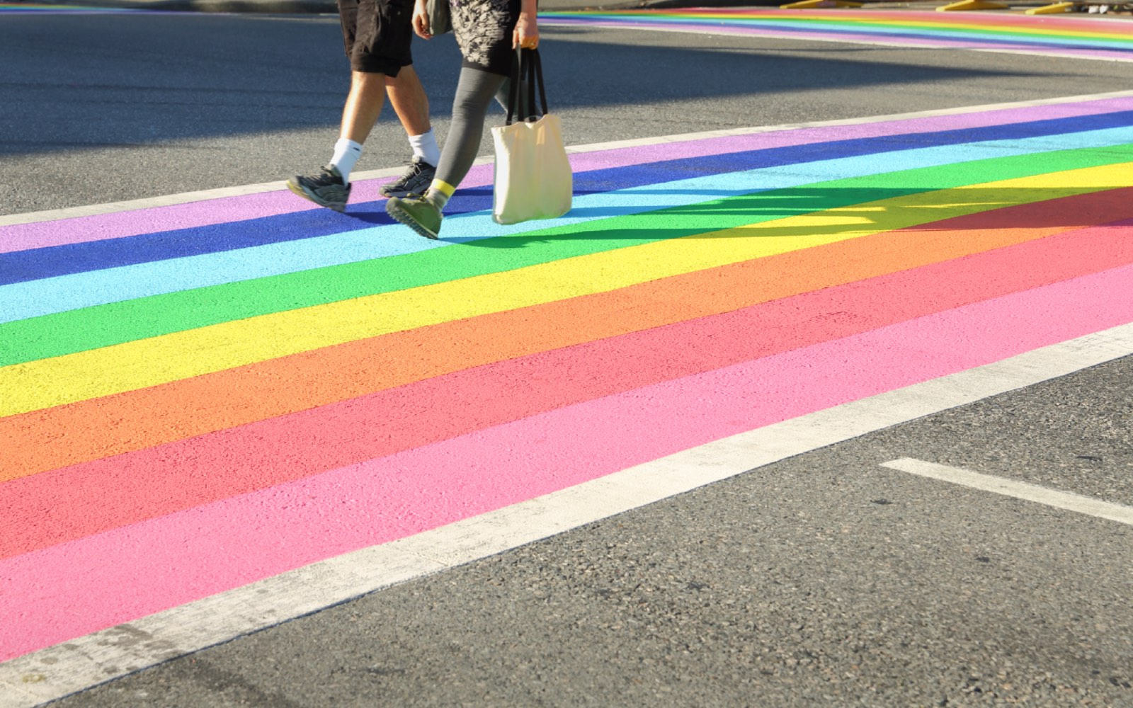 The rainbow sidewalk in Vancouver's Davie Village