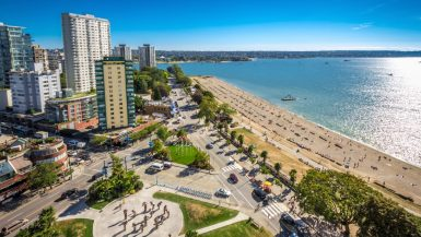 A drone shot of Vancouver's West End