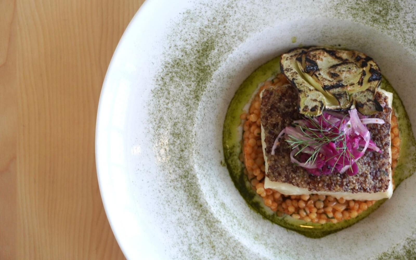 garlic butter halibut at ancora restaurant vancouver bc